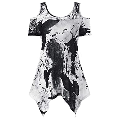 2cddc444a VIASA Large Size Women Sumner Lace Sexy Printing Fashion Off Shoulder Shirt  Short Sleeve Tops Blouse