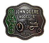 """JOHN DEERE Model """"B"""" 1935-1952 Antique Brass/Enamel BELT BUCKLE"""