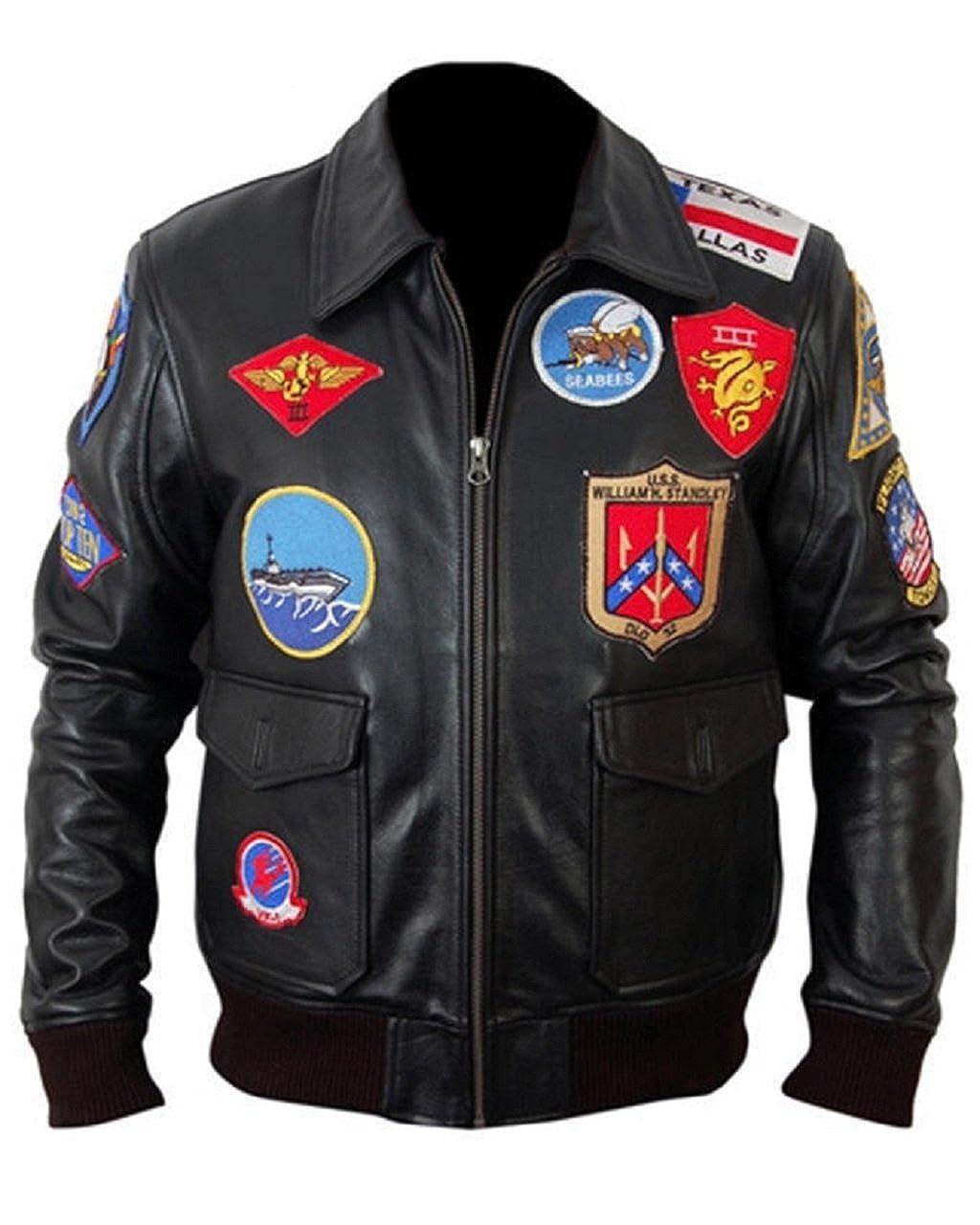 Bestzo Mens Fashion Top Gun Real Leather Jacket at Amazon ...