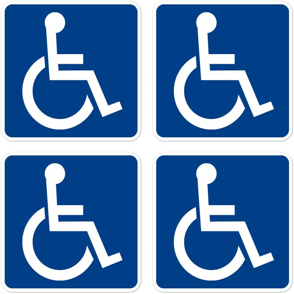 dealzEpic - Access Sign Handicapped Disabled Sign | Self Adhesive Vinyl Decal Sticker | Pack of 4 Pcs