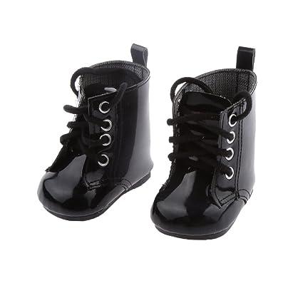 Botas Zapatos Fashion Princesa Encaje PU Martin para Muñecas Chicas Americanas 18 Pulgadas - Negro