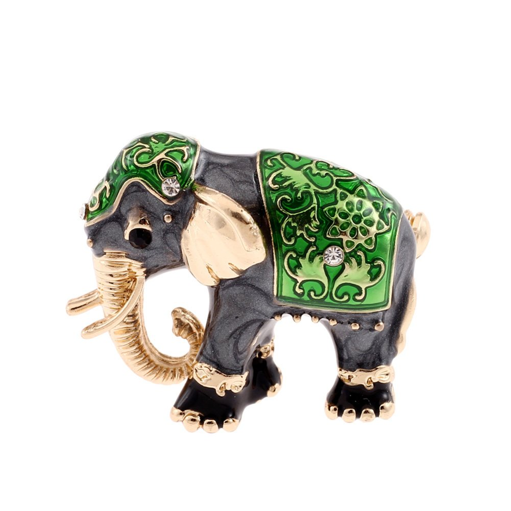 Finance Plan Big Exotic Shiny Rhinestone Enamel Elephant Brooch Pin Women Scarf Jewelry Gift Green
