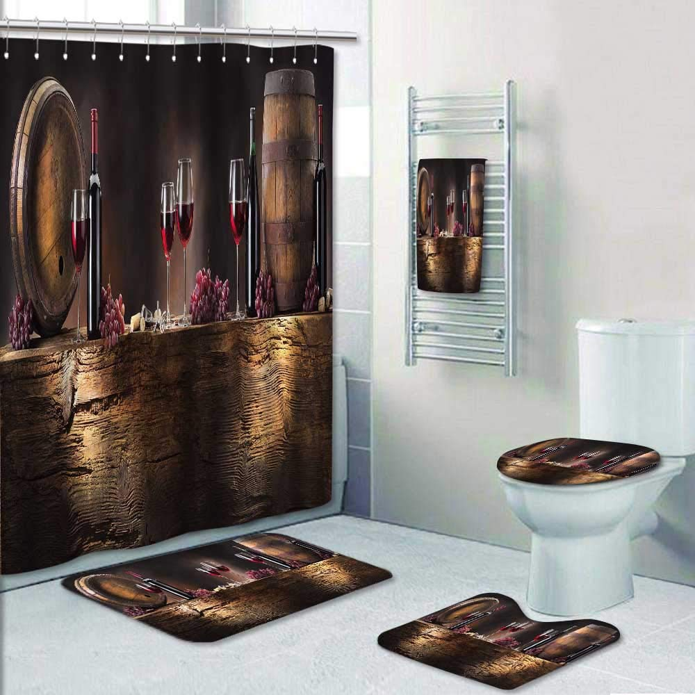 Philip-home 5 Piece Banded Shower Curtain Set Still Life with red Wine and Barrel on Old Wood Pattern Adornment