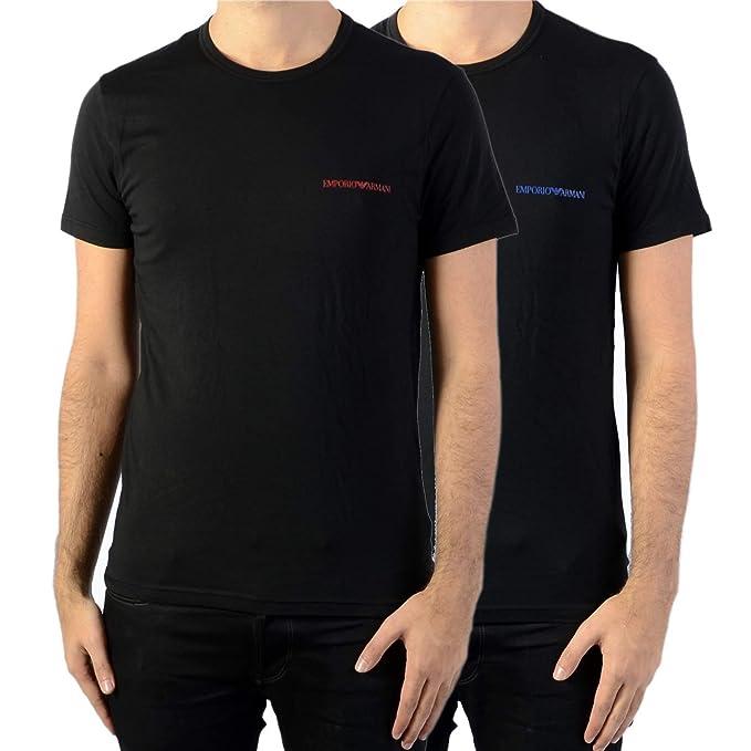 c39cf6eb0ae661 Emporio Armani T-Shirt da Uomo 2 Pezzi, Girocollo, Mezza Manica, Stampa  Logo, Tinta Unita: Amazon.it: Abbigliamento