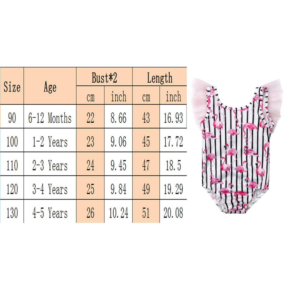 6M-5Y Cute Toddler Girls One Piece Tankini Swimsuit Girls Flamingo Print Sleeveless Swimwear Beach Bathing Suit