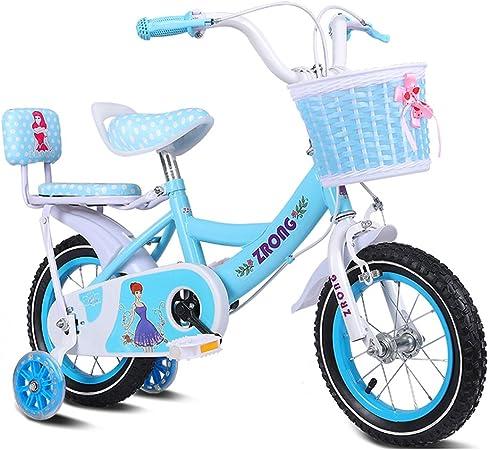RENJUN Bicicletas para niños Bicicletas para niñas de 16 Pulgadas Bicicletas para niños de 4 a 7 años de Edad Bicicletas de Acero con Alto Contenido de Carbono, Rosa/púrpura/Azul Bicicleta para ni: