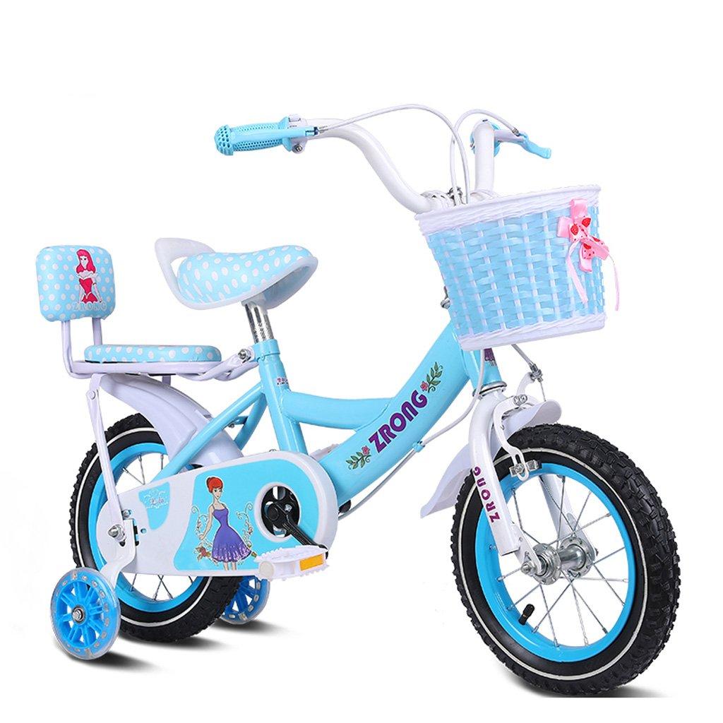 Fenfen子供の自転車14インチGirls Bike 3 – 5-year-old子ガールズ車高炭素スチール自転車、ピンク/パープル/ブルー B07CYQXHK2ブルー