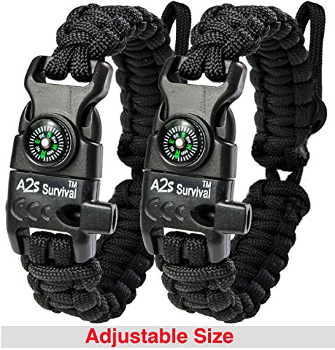 A2S Paracord Bracelet K2-Peak - Survival Gear Kit with Embedded Compass, Fire Starter, Emergency Knife & Whistle - Pack of 2 - Slim Buckle Design (Black / Black Adjustable Size)
