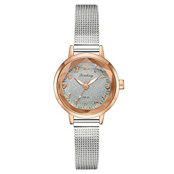 Amazon.com: Emubody Wrist Watch, Stylish and Simple Matte Disk Digital Silver Mesh with Quartz Female Watch Reloj de Mujer: Watches