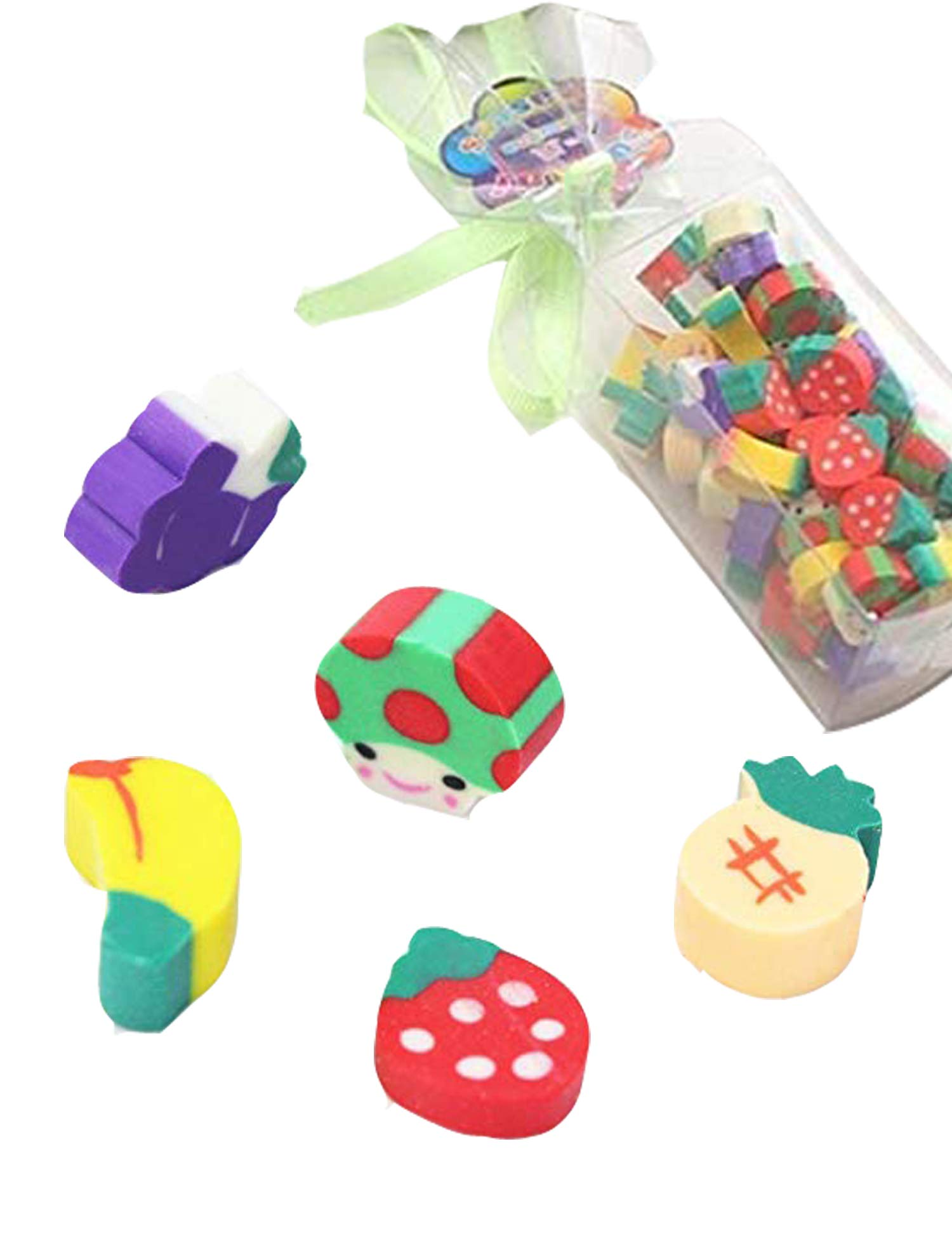 Goodfans 50 Pcs/bag Children Students Casual Cute Mini Fruit Toy Eraser Stationery Tool Cartoon Toy Pen Erasers