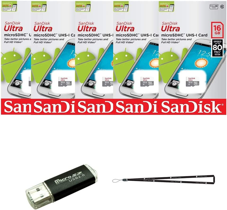 5 Pack Sandisk Ultra 16gb Microsd Hc Class 10 Uhs 1 Computer Zubehör