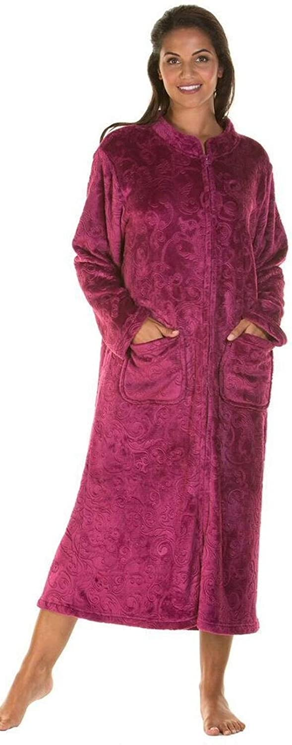 ... Ladies Luxury Soft Feel Embossed Zip Front Long Dressing Gown Robe Wrap  Small to Plus Sizes ... 094093a19