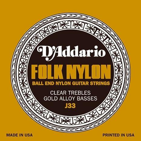 D Addario Juego cuerdas guitarra Classic con bola final sin Nudo ...