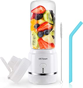 iOCSmart Portable Blender for Smoothies and Shakes, USB Rechargeable Mini Personal Blender with 400ml Travel Bottle, Silicone Straw, 4000mAh Batteries Power Bank (White)