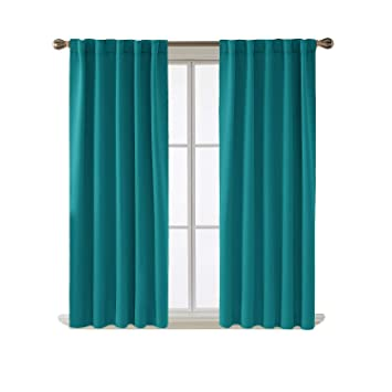 Amazoncom Deconovo Blackout Curtains Back Tab And Rod Pocket