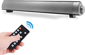 Sound bar, YOUXIU Soundbar Wired and Wireless Bluetooth 5.0 Speaker for Home Theater with Remote Control Dual Connection Methods for PC Smartphones Music and Movie