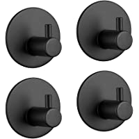 3M Adhesive Hooks Hgery Self Adhesive Black Wall Mount Hook for Key Robe Coat Towel Super Strong Heavy Duty Stainless…