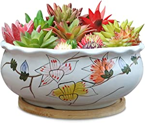 8in Large Round Succulent Planter Pot White Ceramic Flower Pot Indoor and Outdoor Hand-Painted Planter with Bamboo Tray