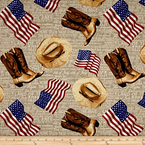 Fabri-Quilt American Pride Heart Of American Flags & Boots Ecru Fabric By The Yard, Ecru -