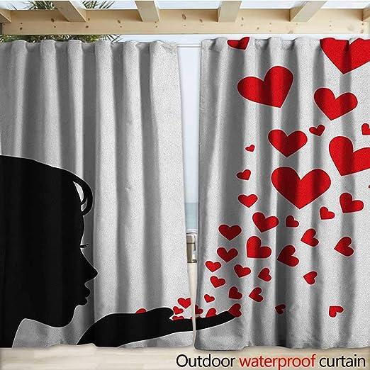warmfamily Kiss - Cortinas Impermeables para Puerta corredera, diseño de corazón Dibujado en pintalabios y Mujer, Color Rojo y Blanco: Amazon.es: Jardín