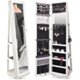 Amazon Com White Mirrored Jewelry Cabinet Armoire W Stand