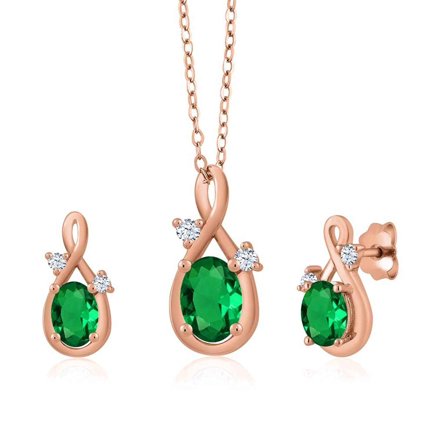 1.49 Ct Oval Green Simulated Emerald 14K Rose Gold Pendant Earrings Set