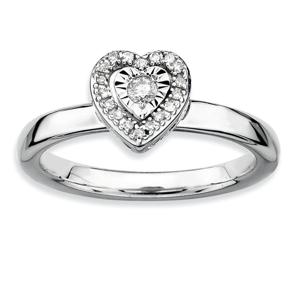 Roy Rose Jewelry Sterling Silver Stackable Expressions Heart Diamond Ring Size 8