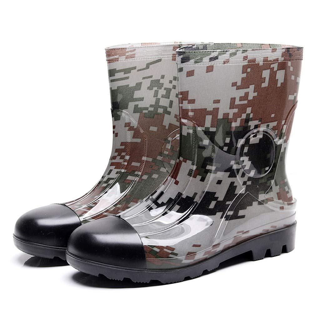 Camouflage Mid Rain Boots,NDGDGA Men's Non-Slip Rain Boots Outdoor Rubber Water Shoes Wide Calf Boots (43 US:9, Green) by NDGDA 🔰 Men's Jacket & Boot