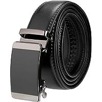 Mens Belt Genuine Leather Adjustable Ratchet Belt with Automatic Buckle Black