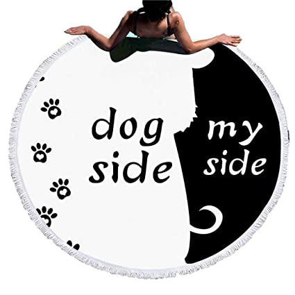 Sticker Superb Blanco y Negro Dog Side and My Side Toalla de Playa Redonda con Borlas