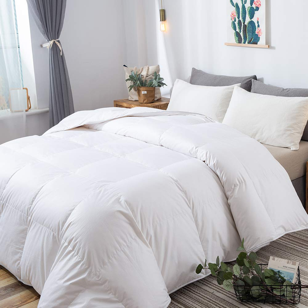 DOWNCOOL Luxurious White Goose Duck Down Comforter - 1200 Thread Count 500+ Fill Power 100% Cotton Shell All Seasons Hypoallergenic Stand-Alone Duvet Insert with Tabs, Twin/Twin XL