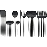 JASHII Flatware Set, 24-piece Silverware Cutlery Set with Serving Pieces, Stainless Steel Utensils, Include Knife/Fork…