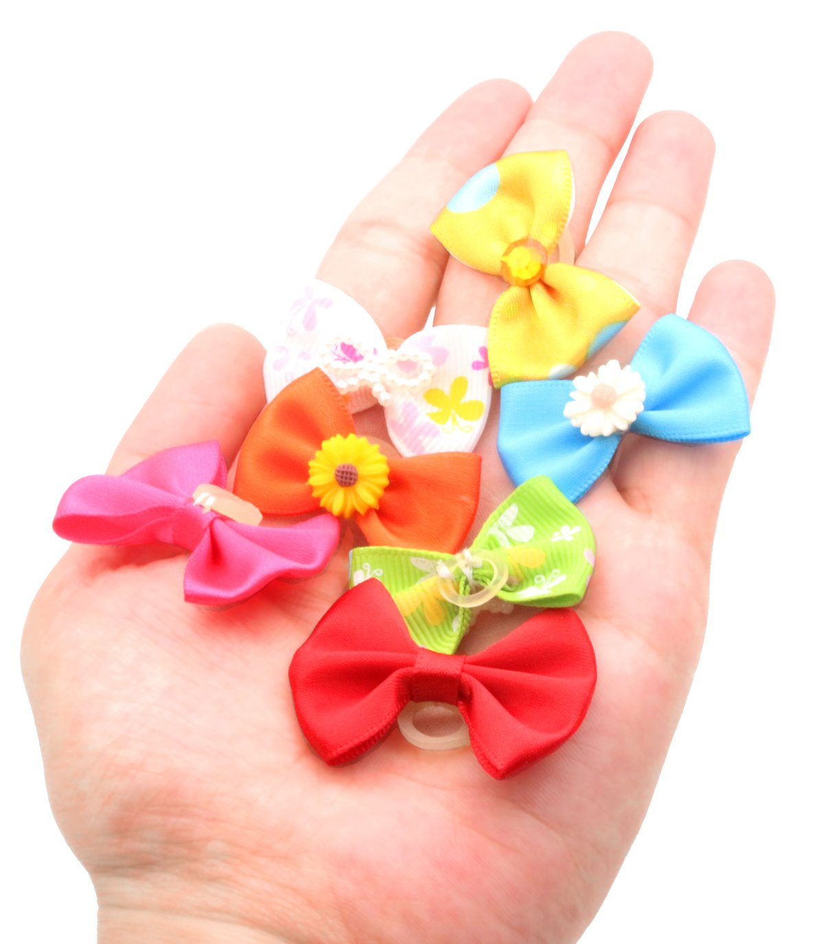 YOY 50pcs/25 Pairs Adorable Grosgrain Ribbon Pet Dog Hair Bows with Rubber Bands - Puppy Topknot Cat Kitty Doggy Grooming Hair Accessories Bow knots Headdress Flowers Set for Groomer by YOY (Image #7)
