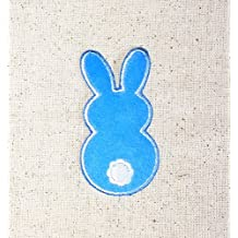 Blue Fuzzy Easter Bunny Back Side Iron on Embroidered Patch Applique