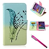Galaxy Note 4 Case, Firefish [Kickstand] Note 4 Case Leather Wallet Bumper Slim Shock Absorption [Magnetic Closure] for Samsung Galaxy Note 4 - Feather