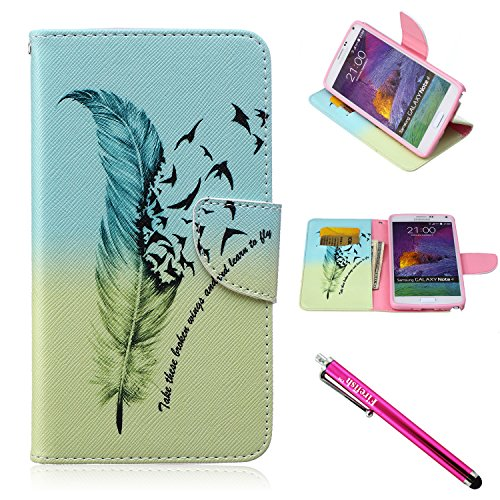 Galaxy Note 4 Case, Firefish [Kickstand] Note 4 Case Leather Wallet Bumper Slim Shock Absorption [Magnetic Closure] for Samsung Galaxy Note 4 - ()