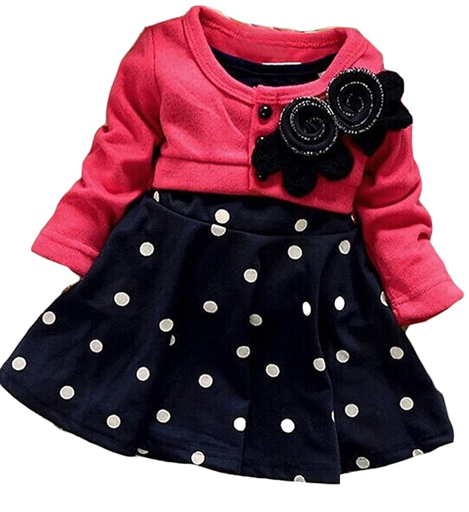 Amazon Ours Baby Girls Princess One Piece Flower Dot Dress
