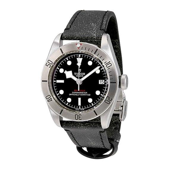 Tudor Patrimonio Negro Bahía 41 mm Reloj para hombre correa de piel en color negro envejecido