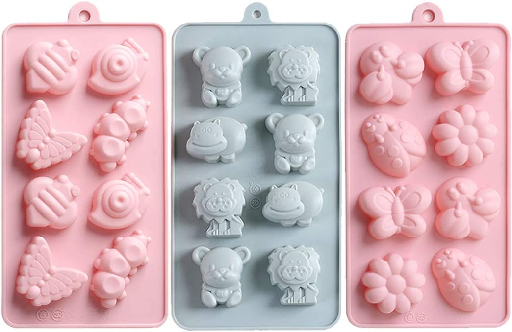 3 Pcs Chocolate Candy Molds, Silicone Jelly Gummy Tray Moulds, Animal & Insect Shaped Baking Mold Set for Candy, Jelly, Ice Cube