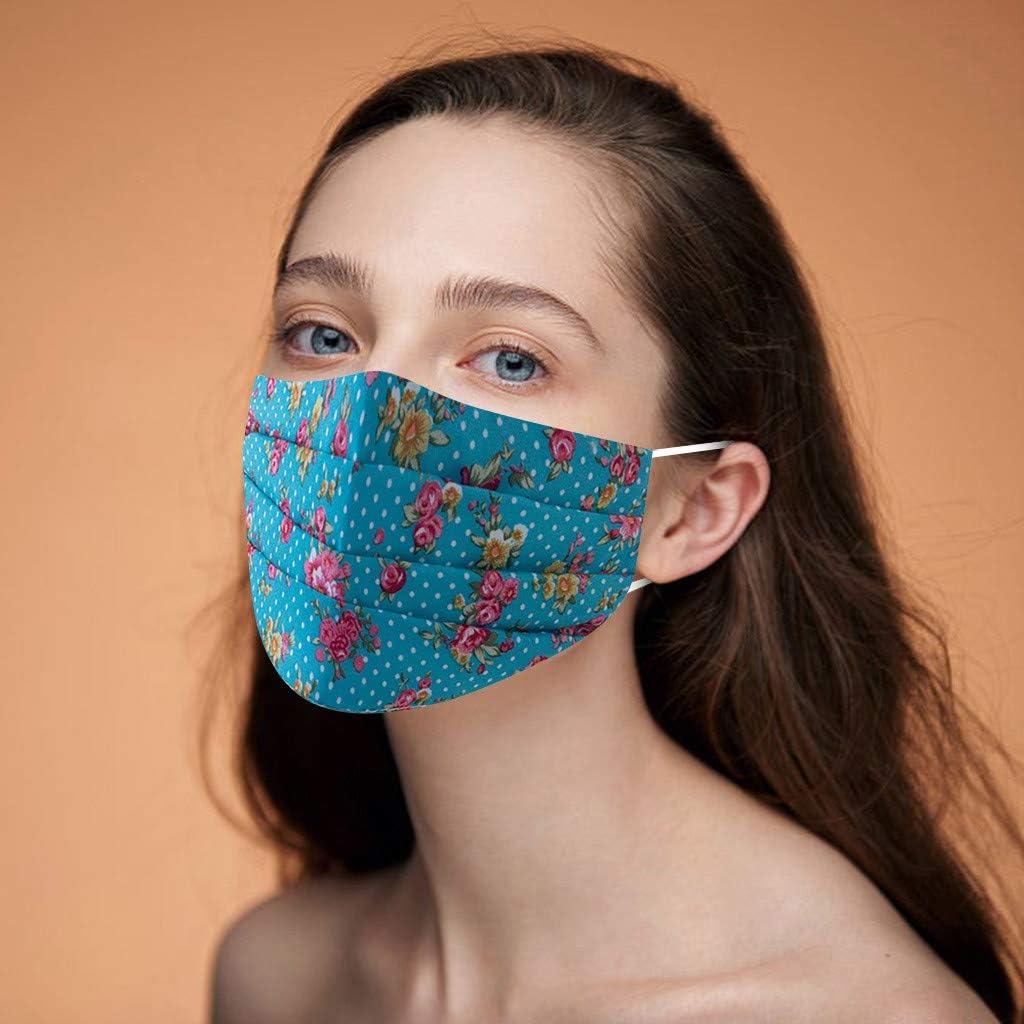 LANWINY Erwachsene Frauen M/änner Mundschutz Waschbar Wiederverwendbar Verstellbar Atmungsaktiv Mundschutz Blumendruck Protector Gesicht Produktion Halstuch Mit Verstellbarem Ohrhaken Beige