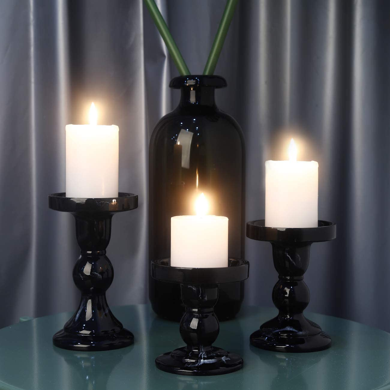 Beige Lewondr Harz Marmor-Stil Kerzenhalter 3 St/ücke Kerzenst/änder in Unterschiedlicher Gr/ö/ße Tischdekoration Teelichthalter f/ür Romantisches Abendessen Hochzeit Weihnachten Geburtstag