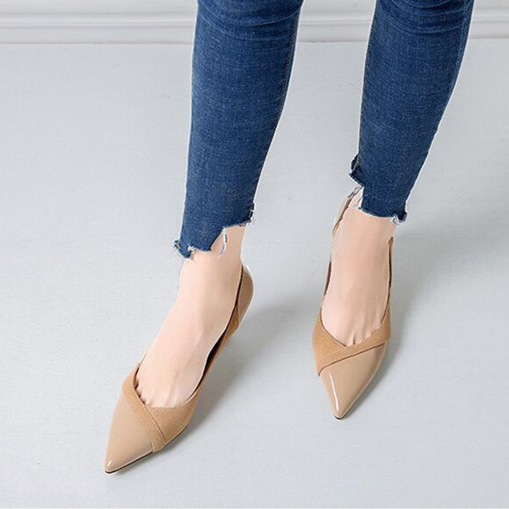 Damen Schuhe CJC Schuh Mode Weiblich Leder Spitz Spitz Spitz Flach Mund Single Schuh Arbeitsplätze Fein Hoher Absatz Schuh (Farbe   2 Größe   EU39 UK6) 06c818