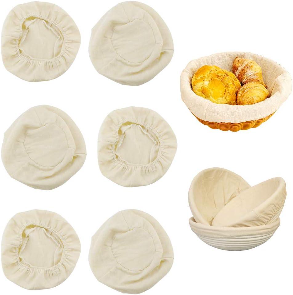 6 Pcs 10 Inch Round Bread Proofing Basket Cloth Liner Sourdough Banneton Proofing Baskets Cloth Natural Rattan Baking Dough Baking Basket Cover