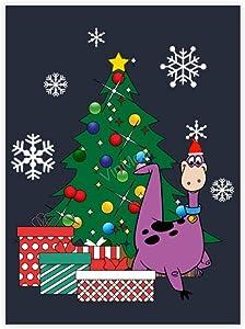 "VinMea Decorative Art Printing Poster Dino Around The Christmas Tree Flintstones Wall Art Paper Poster Printing Unframed Prints for Wall Decor 12"" X 16"""