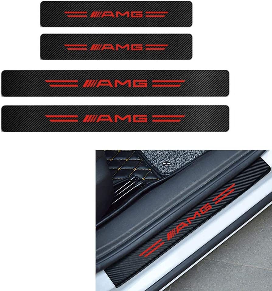 Red-AMG MAXDOOL 4PCS Door Sill Protector Reflective Carbon Fiber Sticker Decoration Door Entry Guard Door Sill Scuff Plate Stickers AMG Logo for Mercedes-Benz