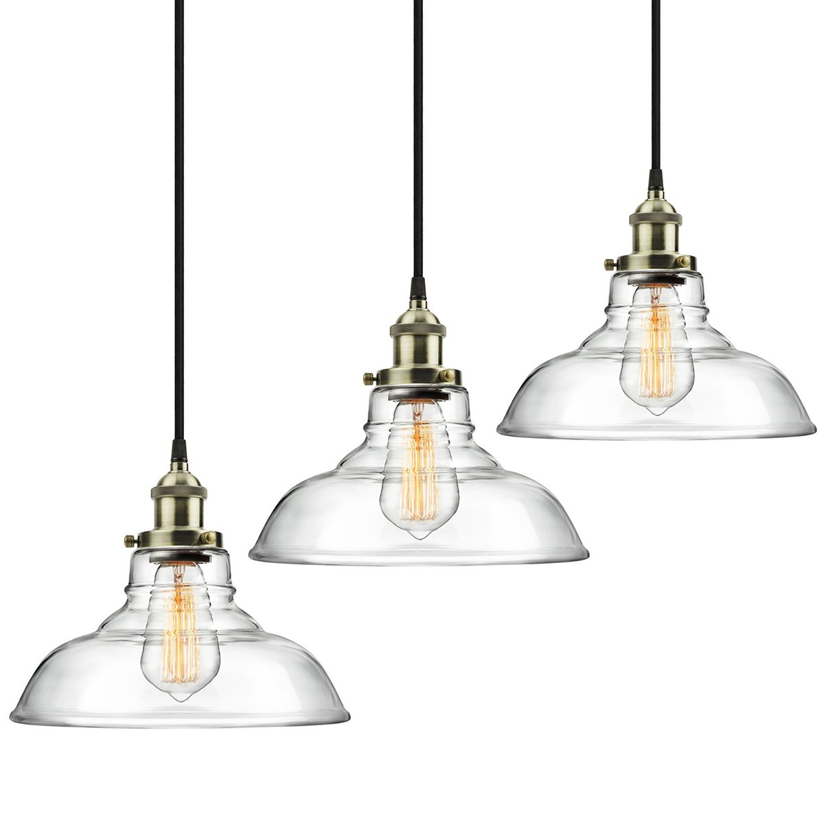 3-Pack Modern Industrial Vintage Glass Pendant Light - MKLOT Minimalist Eco-Power Edison Style 11.02'' Wide Hanging Chandelier Ceiling Lighting Mounted Fixture with Clear Glass