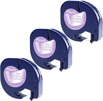 3er-Packung Aken kompatibel Etikettenband als Ersatz f/ür Dymo Letratag Kunststoff Etikettenband f/ür Dymo LetraTag LT-100H LT-100T LT-110T XR // 12mm x 4m Modell S0721550 schwarz auf transparent