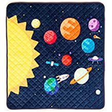 HIDEABOO Childrens Portable Super Soft Activity Play Mat for Babies and Toddlers, Outer Space Rocket