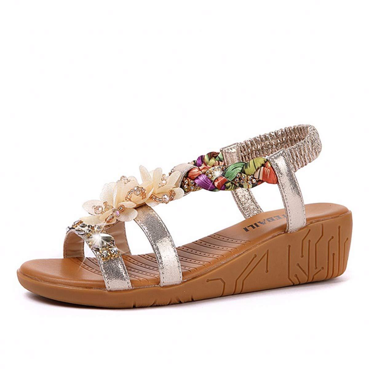 KOKQSX-Hang Schuhen Leder Damenschuhe Mode Joker Sandalen 35 die Silbernen