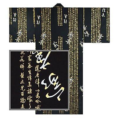 """61"""" L Kimono Yukata Men's HIDEYOSHI Kanji Black Cotton/Made in Japan"""